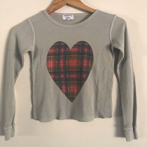 WILDFOX KIDS THERMAL PLAID HEART GRAPHIC TEE